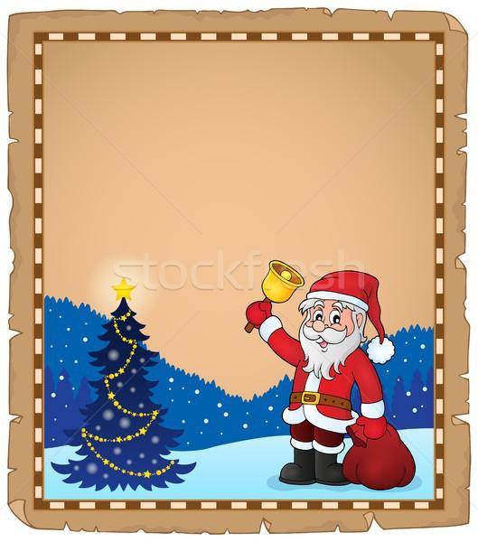 Papá noel campana pergamino papel arte estrellas Foto stock © clairev