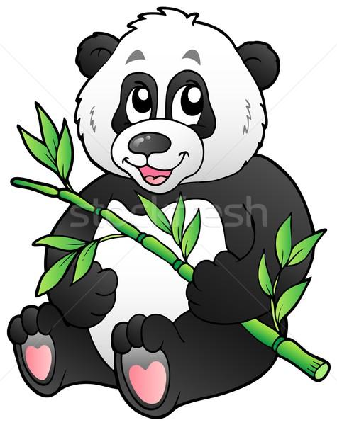 Rajz panda eszik bambusz mosoly terv Stock fotó © clairev
