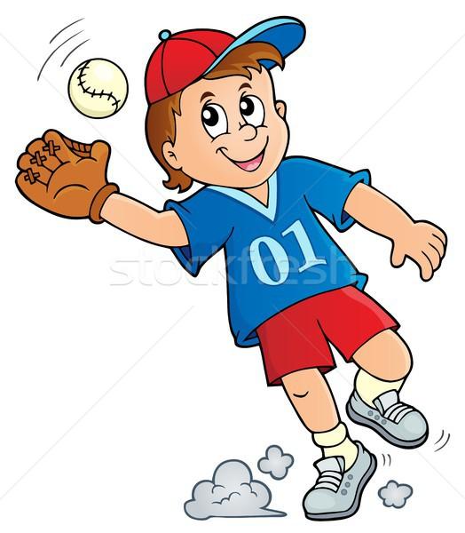 Jogador de beisebol imagem feliz esportes arte treinamento Foto stock © clairev