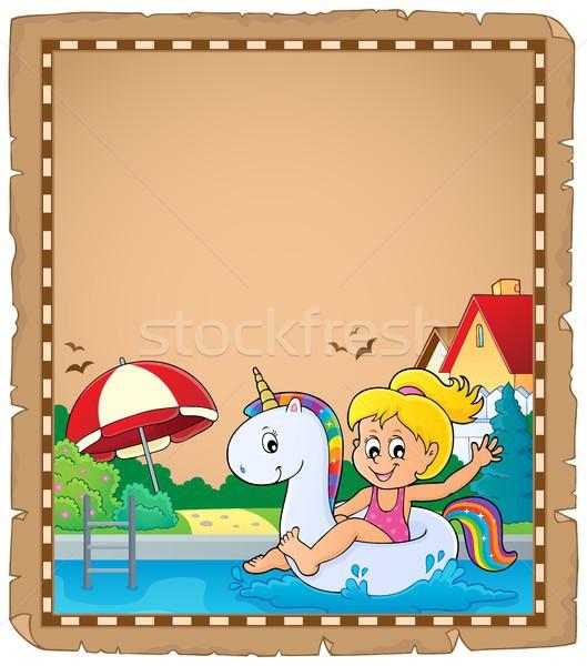 пергаменте девушки бумаги счастливым ребенка Сток-фото © clairev