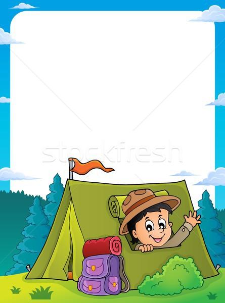 Verkenner tent frame gelukkig kind kunst Stockfoto © clairev