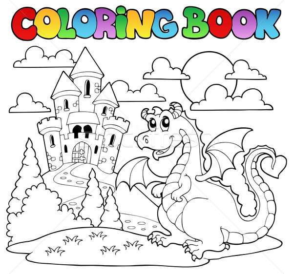Coloring book dragon theme image 1 Stock photo © clairev