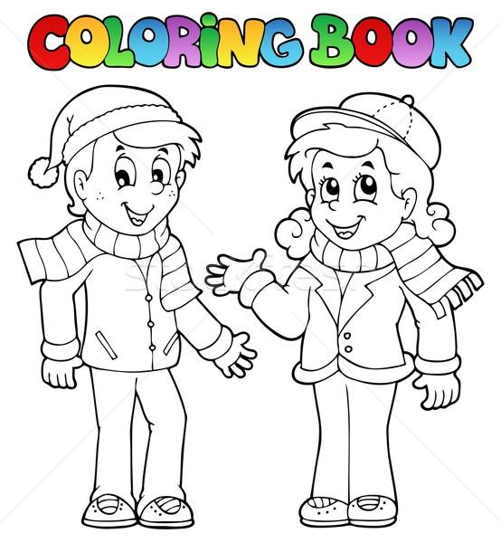 Kifestőkönyv gyerekek lány mosoly könyv gyermek Stock fotó © clairev