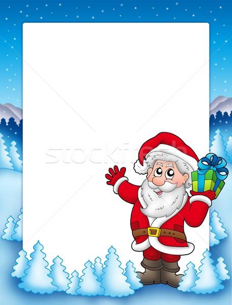 Keret mikulás karácsony ajándék szín illusztráció Stock fotó © clairev