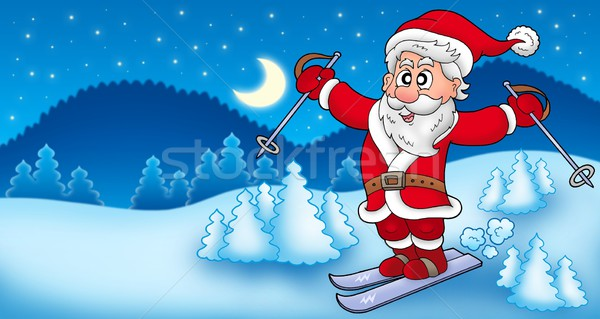 Stock photo: Landscape with skiing Santa Claus