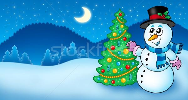 Tél tájkép hóember fa szín illusztráció Stock fotó © clairev