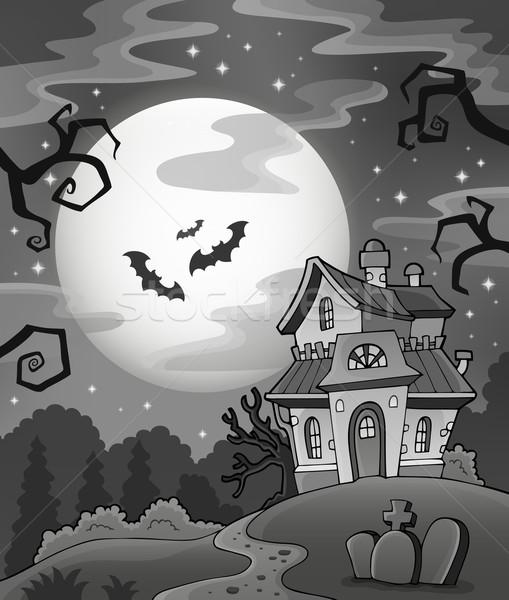 Feketefehér kisértetjárta ház égbolt hold háttér Stock fotó © clairev