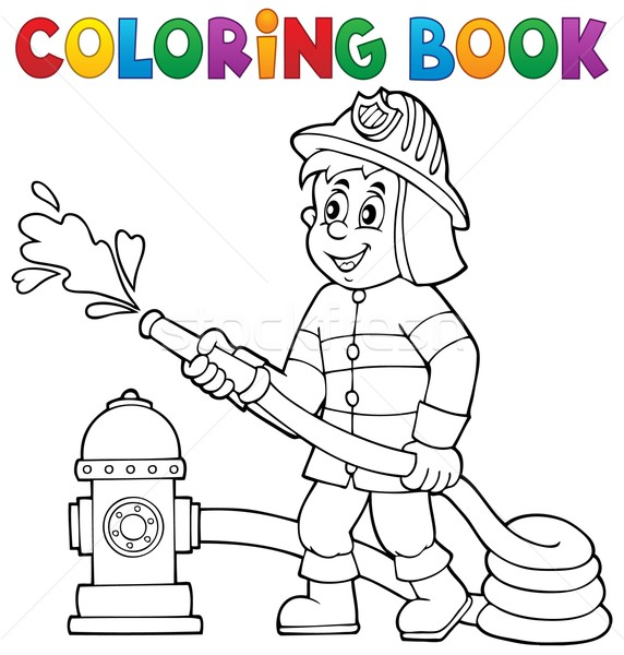 Coloring book firefighter theme 1 Stock photo © clairev