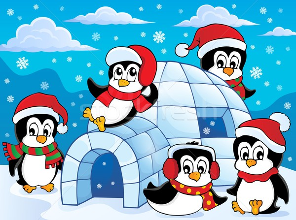 Igloo with penguins theme 2 Stock photo © clairev