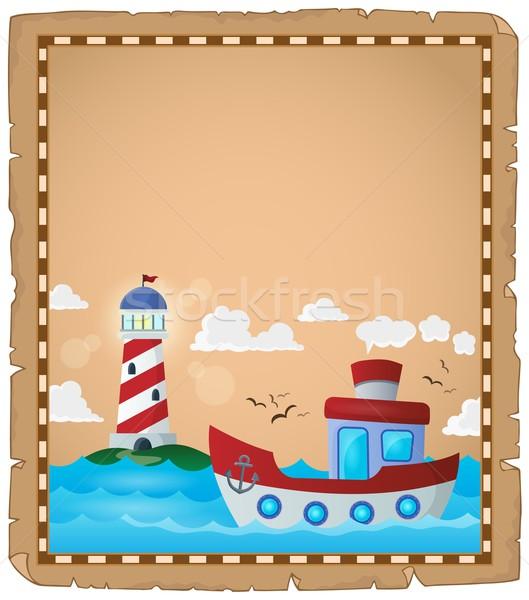 羊皮紙 ボート 灯台 水 海 船 ストックフォト © clairev