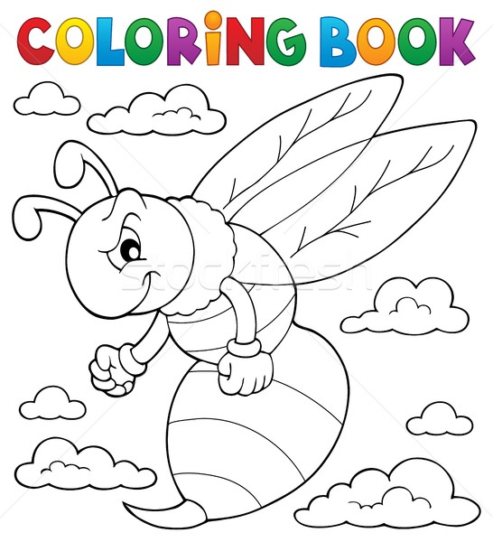 Stock photo: Coloring book wasp theme 1