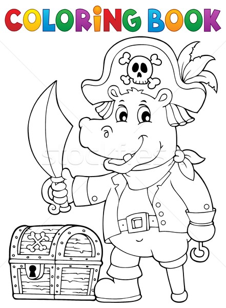 Coloring book pirate hippo image 1 Stock photo © clairev