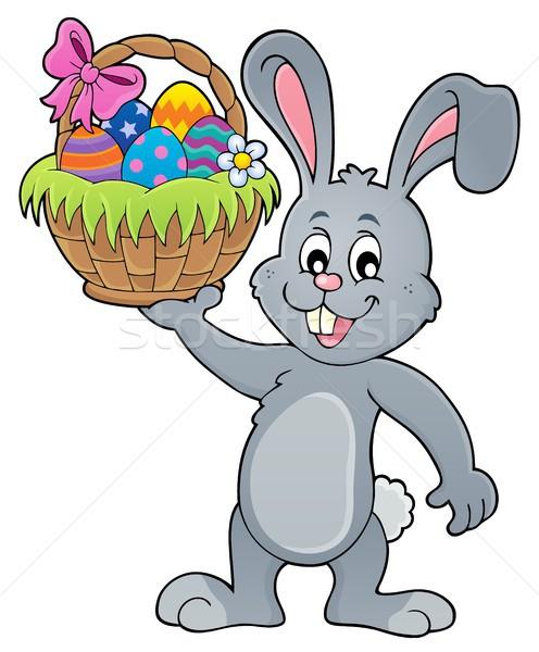 Bunny Wielkanoc koszyka temat szczęśliwy Zdjęcia stock © clairev