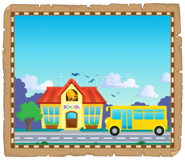 Parchment with school bus 5 Stock photo © clairev