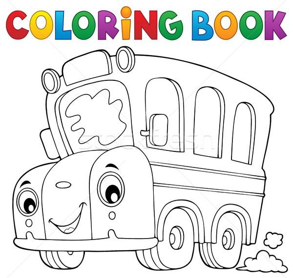 Boyama kitabı okul otobüsü kitap göz yüz sanat Stok fotoğraf © clairev
