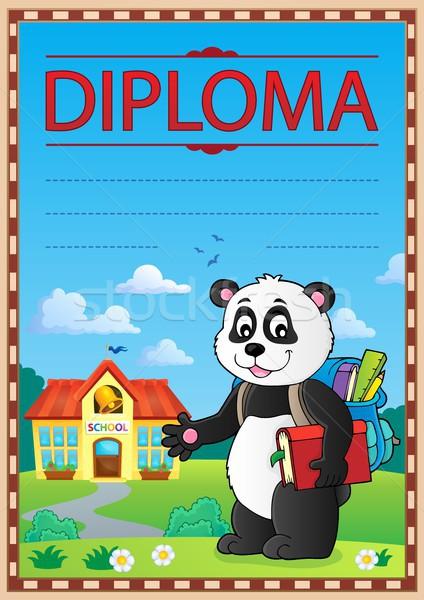 Diploma terv kép könyv iskola művészet Stock fotó © clairev