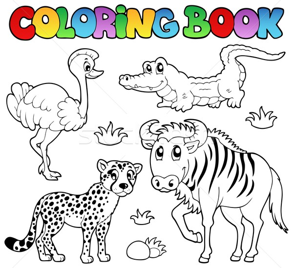 Coloring book savannah animals 2 Stock photo © clairev