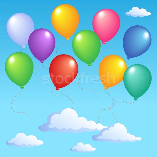 Mavi gökyüzü şişme balonlar doğum günü sanat eğlence Stok fotoğraf © clairev