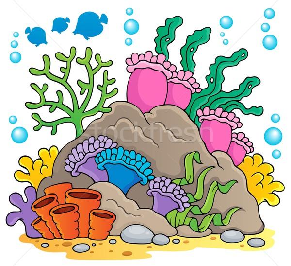 Korallzátony kép természet tenger levelek növény Stock fotó © clairev