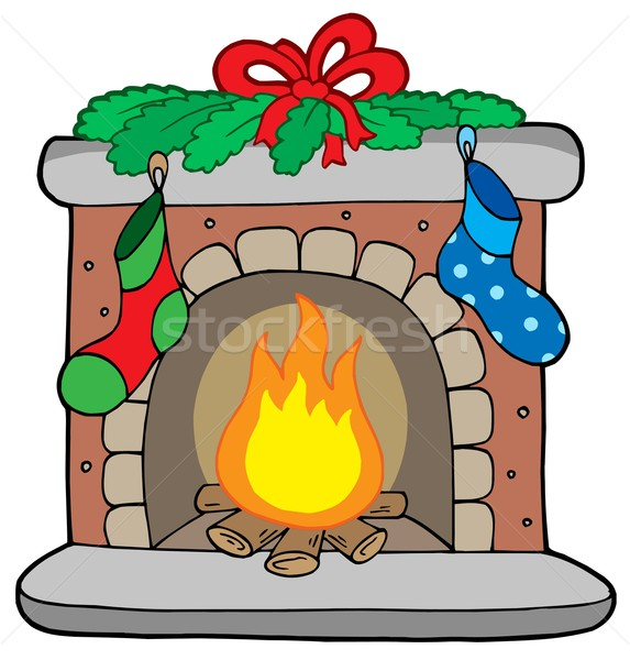 Christmas fireplace with stockings Stock photo © clairev