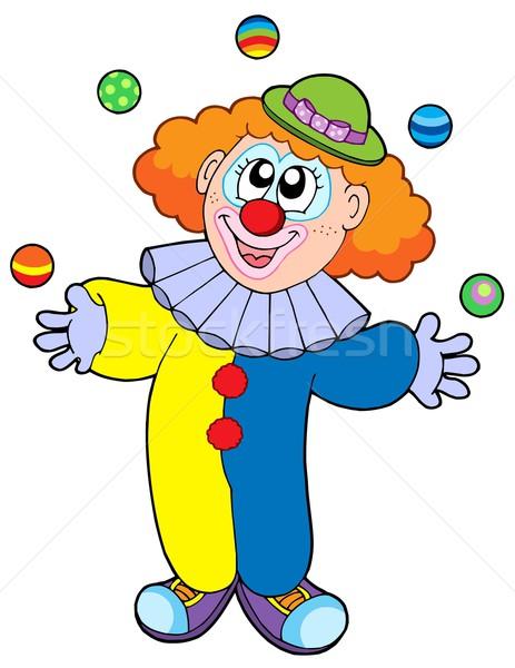 Jongleren cartoon clown partij man gelukkig Stockfoto © clairev