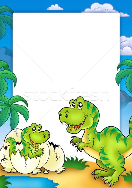 Frame with tyrannosaurus rex Stock photo © clairev