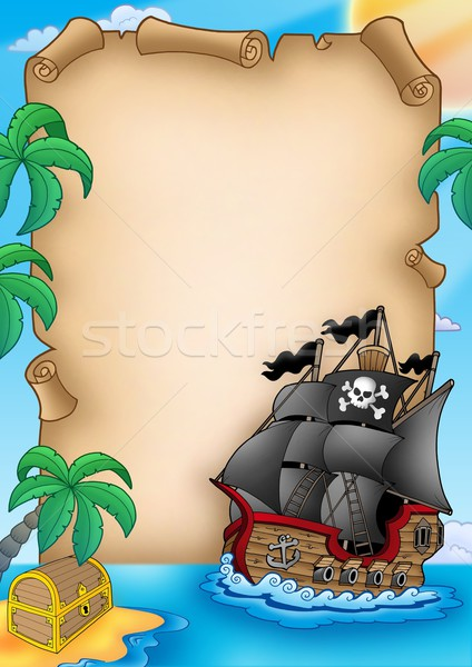 Parchment with pirate vessel Stock photo © clairev