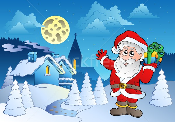 Santa Claus near small village 1 Stock photo © clairev