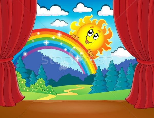Stage with rainbow and sun Stock photo © clairev