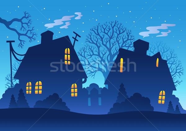 Dorp nacht silhouet hemel boom gebouw Stockfoto © clairev