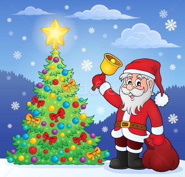 Glocke Weihnachtsbaum Baum glücklich Schnee Stock foto © clairev