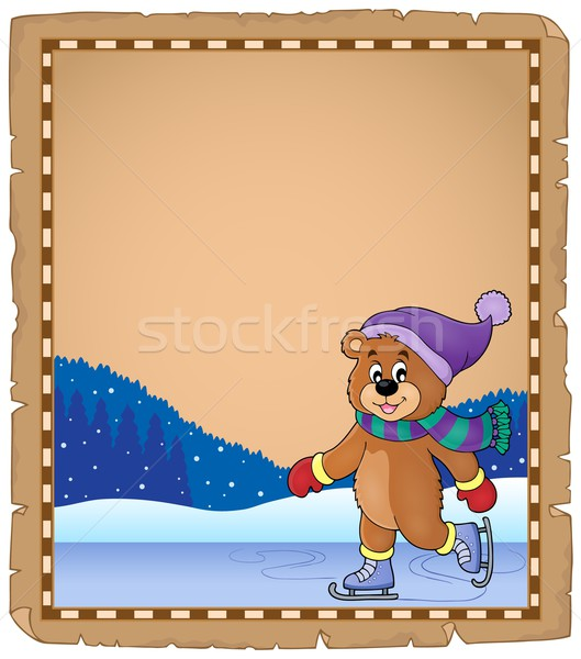 Parchment with ice skating bear Stock photo © clairev