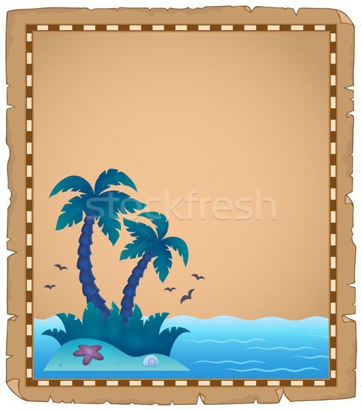 Perkament tropisch eiland natuur palm oceaan zand Stockfoto © clairev