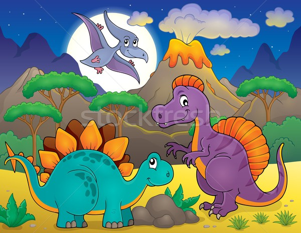 Night landscape with dinosaur theme 5 Stock photo © clairev