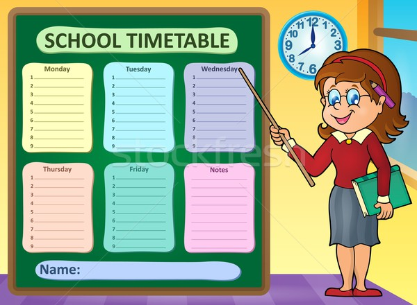 Hebdomadaire école calendrier femme temps classe Photo stock © clairev