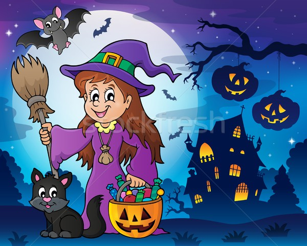 Cute witch and cat in Halloween scenery Stock photo © clairev