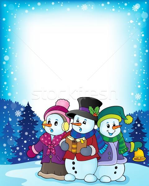 Snowmen carol singers theme image 3 Stock photo © clairev