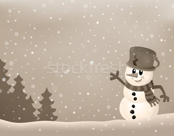 стилизованный зима изображение снеговик улыбка улыбаясь Сток-фото © clairev