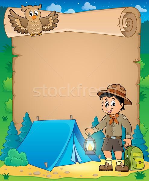 Perkament verkenner jongen glimlach kind licht Stockfoto © clairev