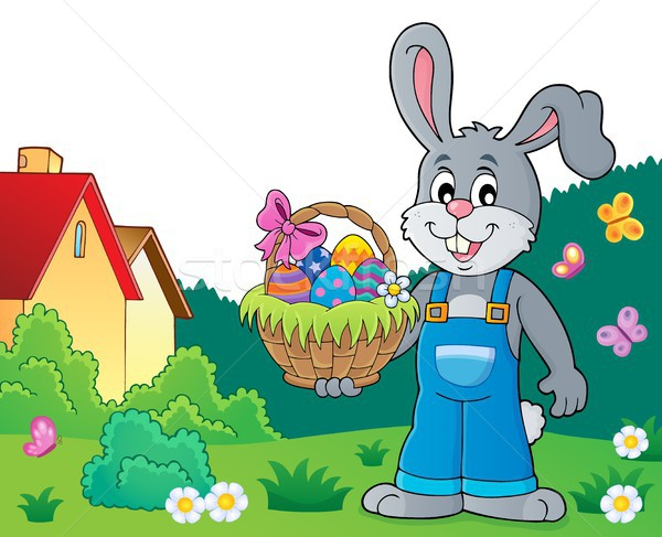 Bunny holding Easter basket theme 7 Stock photo © clairev