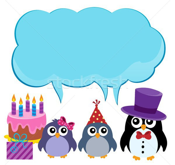 Party penguins with copyspace theme 1 Stock photo © clairev