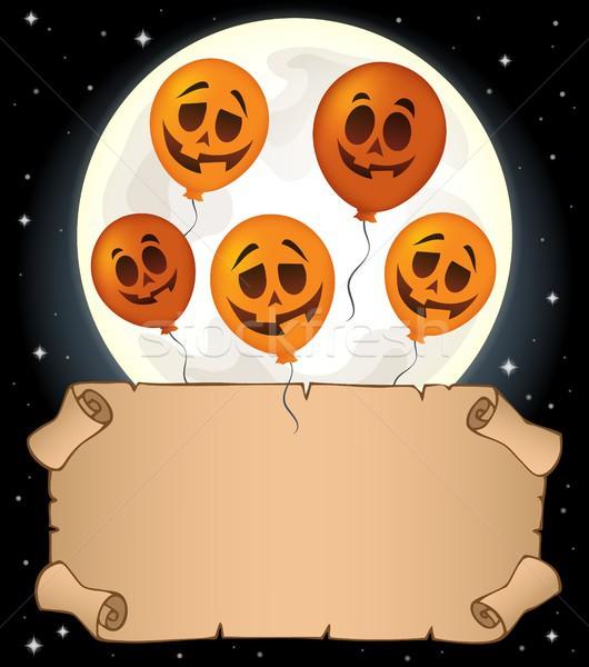 Küçük parşömen halloween balonlar gökyüzü kâğıt Stok fotoğraf © clairev