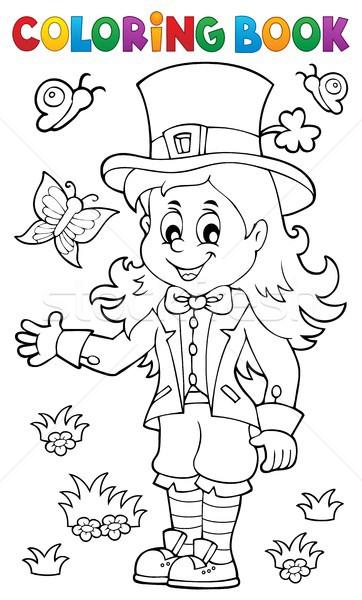 Coloring book leprechaun girl theme 1 Stock photo © clairev