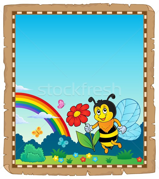 Pergamino feliz abeja flor papel naturaleza Foto stock © clairev