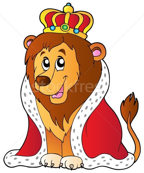Cartoon lion in king outfit Stock photo © clairev