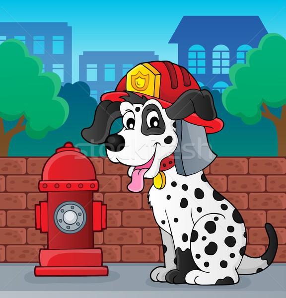 Bombeiro cão parede rua arte serviço Foto stock © clairev