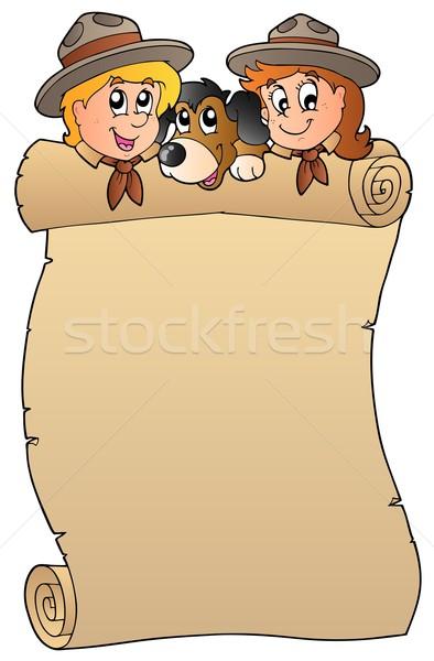 Scroll twee hond meisje gelukkig kind Stockfoto © clairev