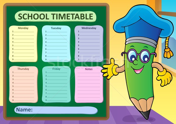 Weekly school timetable template 2 Stock photo © clairev