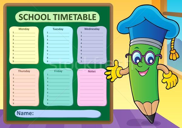Hebdomadaire école calendrier modèle mains main Photo stock © clairev