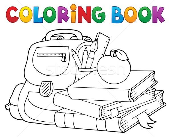 Coloring book school equipment 1 Stock photo © clairev